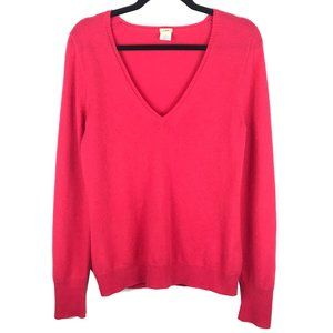 J Crew Red Cashmere V Neck Long Sleeve Sweater M